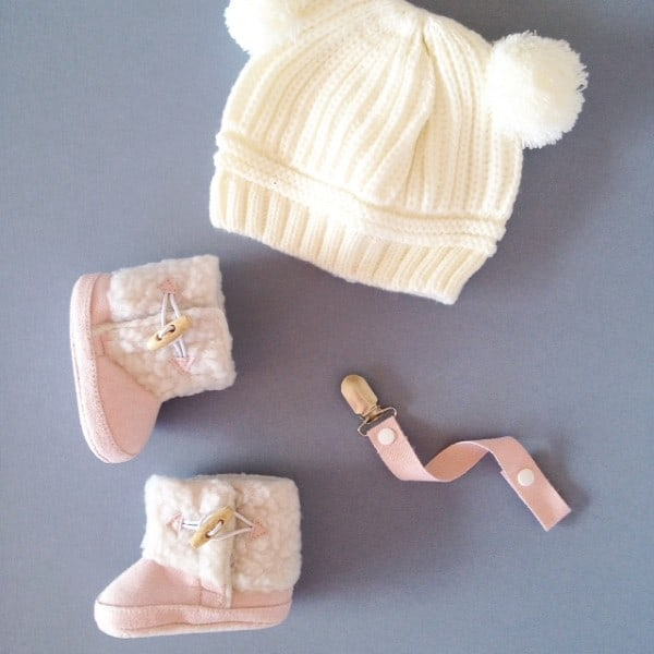 Dummy Clip- Natural Cotton- Baby Pink
