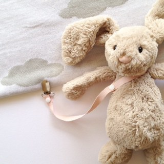 Toy Saver and Sophie Giraffe Harness - Natural Cotton -Baby Pink