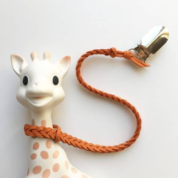 Burnt Orange Faux Leather Braided Toy Saver