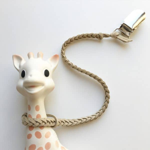 Beige Faux Leather Braided Toy Saver