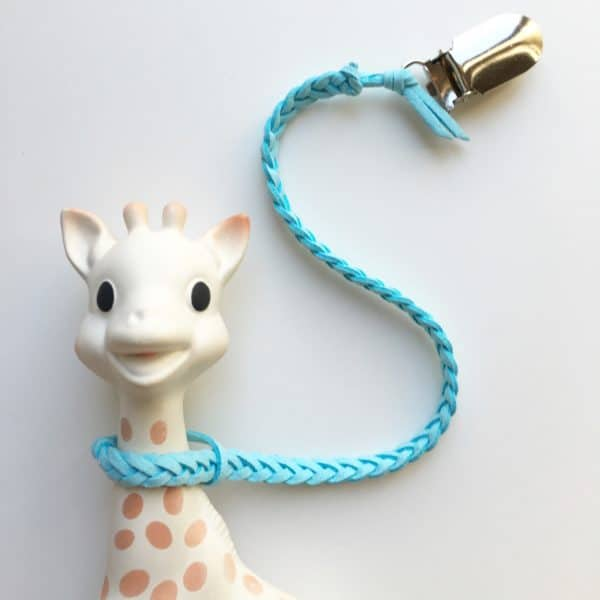 Sky Blue Faux Leather Braided Toy Saver