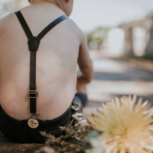 Dark Brown Faux Leather suspenders with personalised name clips