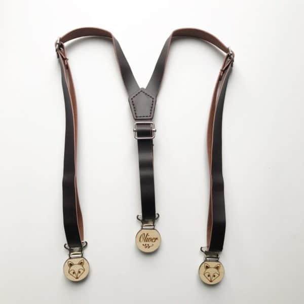 Dark Brown Faux Leather Suspenders