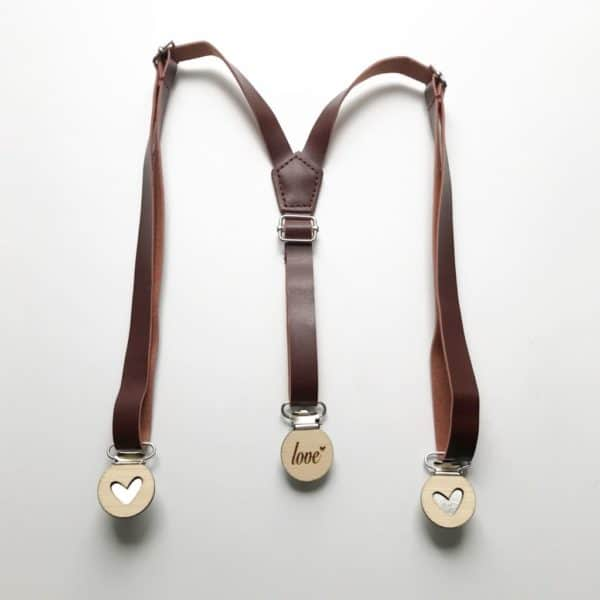 Light Brown Faux Leather Suspenders