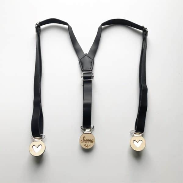 Black Faux Leather Suspenders