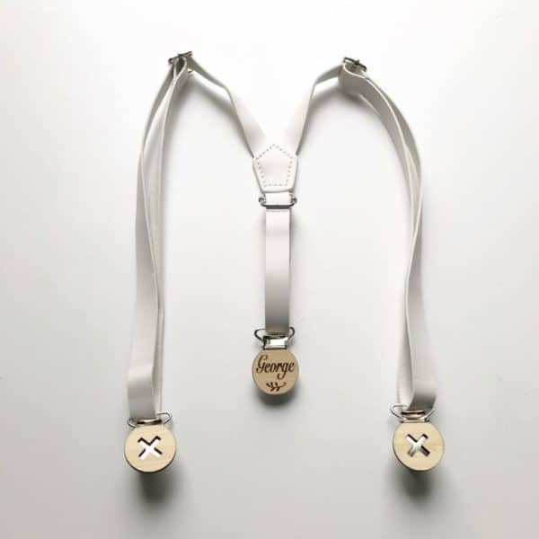 Ivory White Faux Leather Suspenders