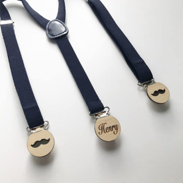 Dark Blue elastic suspenders