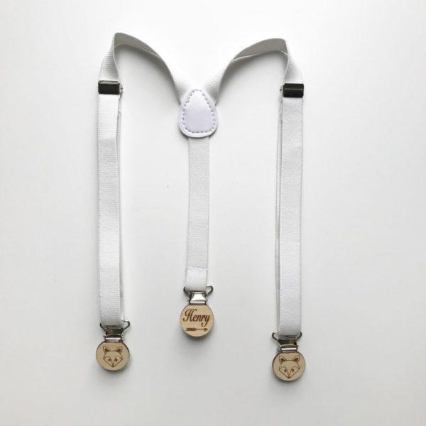 White elastic suspenders