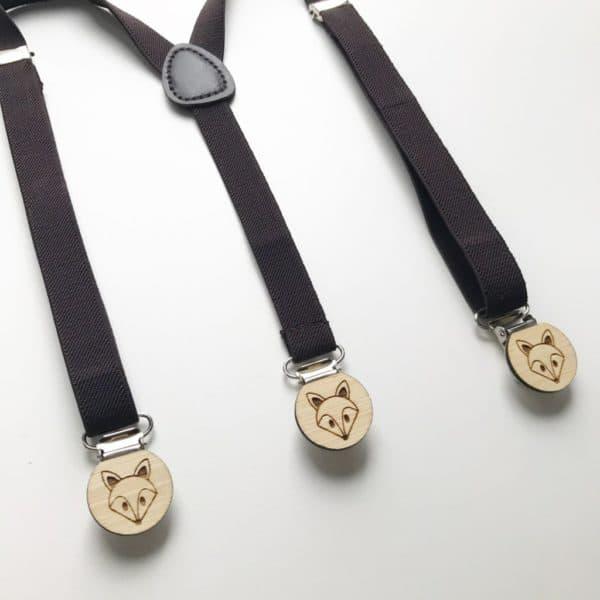 Dark Brown elastic suspenders