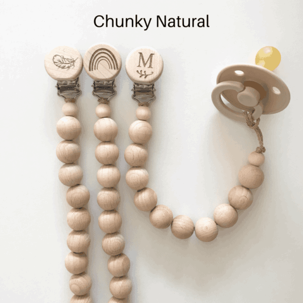 Chunky Wooden and Silicone beaded Dummy chain-Natural
