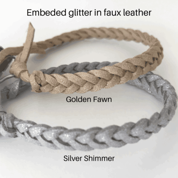 Glitter embeded in faux leather for golden fawn and silver shimmer only