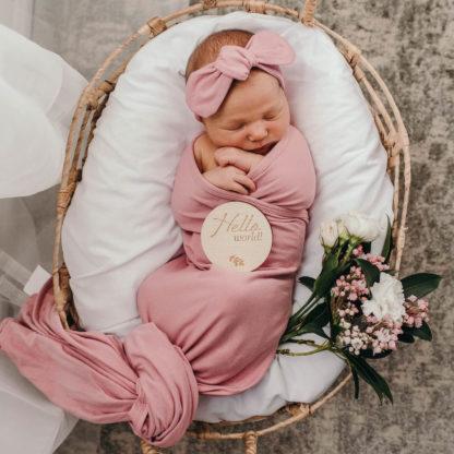 Blush Jewel - Baby Jersey Wrap & Topknot Set