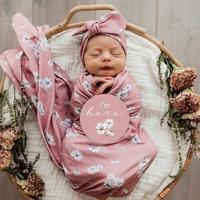 Daisy - Baby Jersey Wrap & Topknot Set