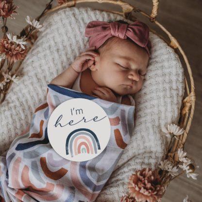 Rainbow Baby & Sage Reversible Milestone Cards