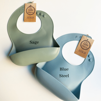 Blue Steel and Sage Silicone Bib