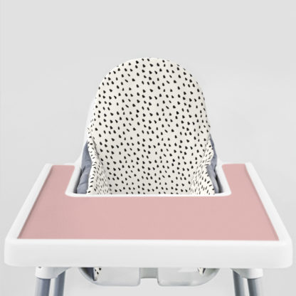 Black Painted Dots Ikea Highchair cushion cove-Dusty Rose