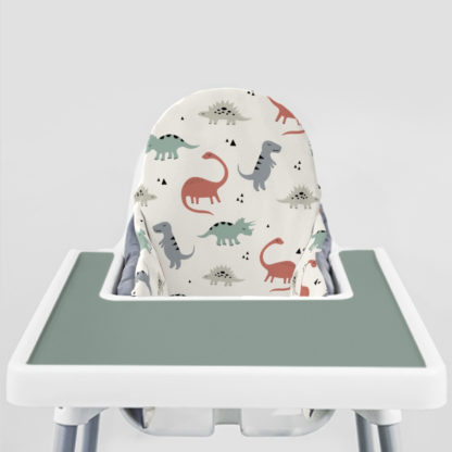 Muted Dinos Ikea Highchair cushion cove-Faded Jade Placemat