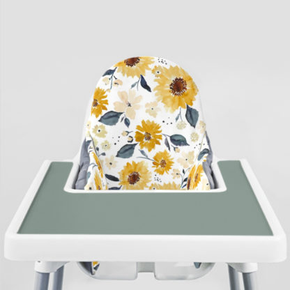 Sunflowers and Cream Ikea Highchair cushion cove-Faded Jade Placemat