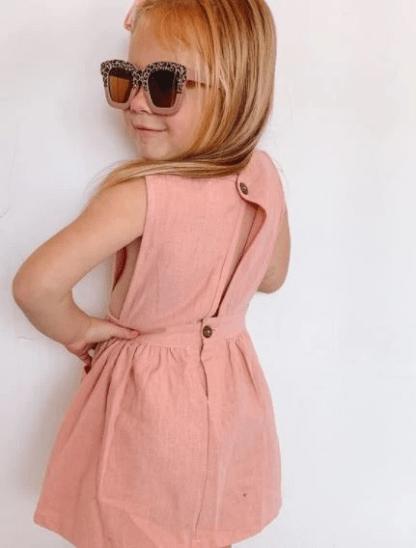 Indie Linen dress Dusty Pink Back
