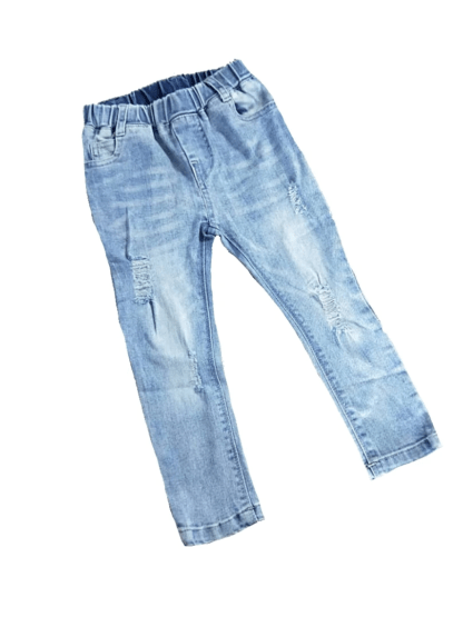 Elastic Waist - Distressed Blue Jeans